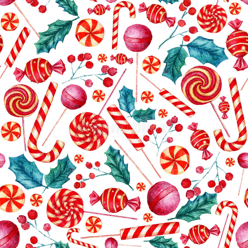 Seamless pattern with candies. Christmas background. Watercolor illustration with candies royalty free illustration