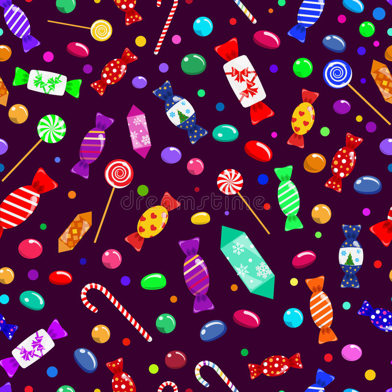 Seamless pattern of candies. Lollypops and sweets stock illustration