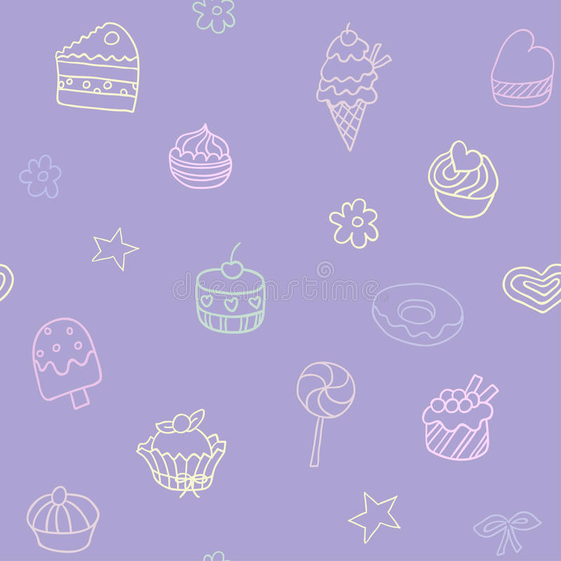 Seamless pattern with candies and sweets. Endless texture can be used for printing onto fabric, paper or scrap booking, wallpaper, pattern fills, web page royalty free illustration