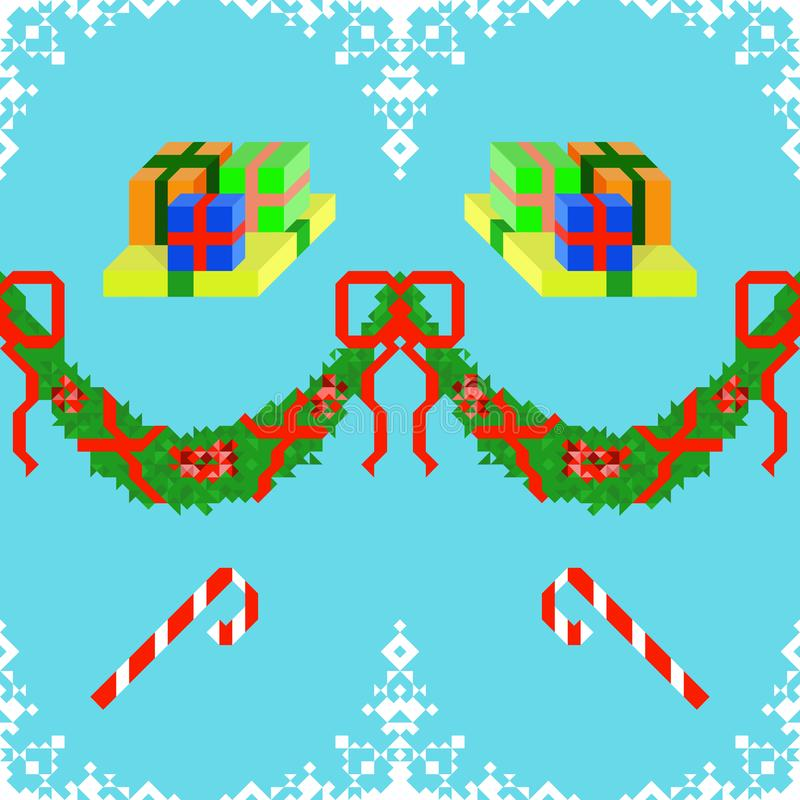 Seamless pattern with candy cane and gift boxes on a blue background framed by snowflakes and a green garland with red bows royalty free illustration