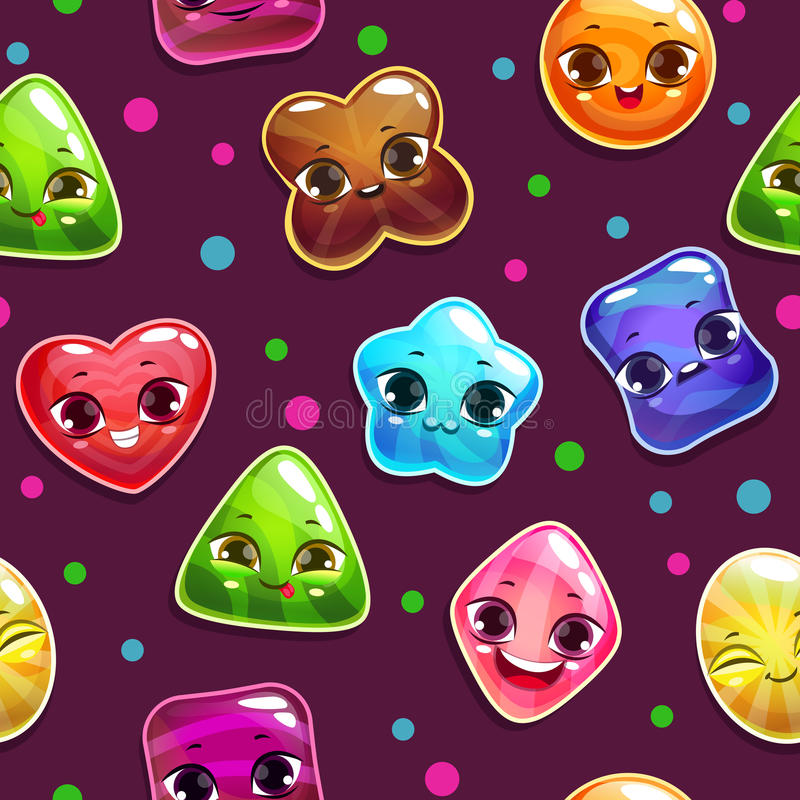 Seamless pattern with candy characters stock illustration