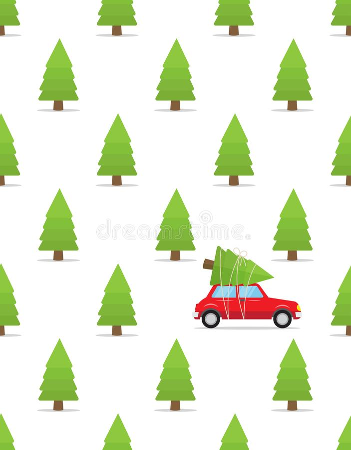 Seamless pattern with car and christmas tree on the roof vector illustration