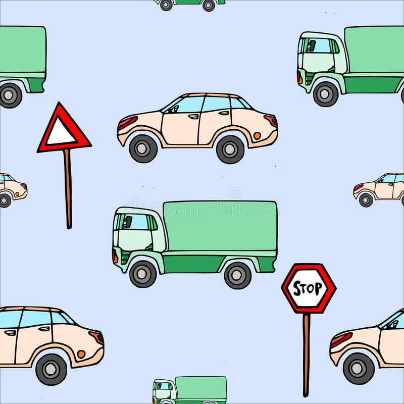 Seamless pattern a car and a truck and traffic signs. stock illustration
