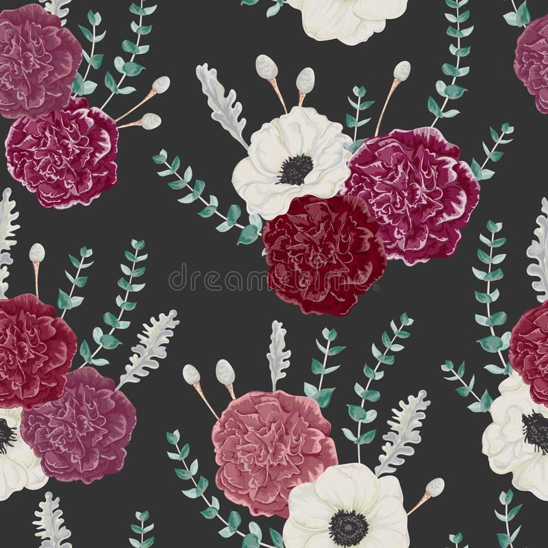 Seamless pattern with carnation and anemone flowers, eucalyptus, dusty miller and silver brunia. Vintage winter floral background. Vector illustration in vector illustration