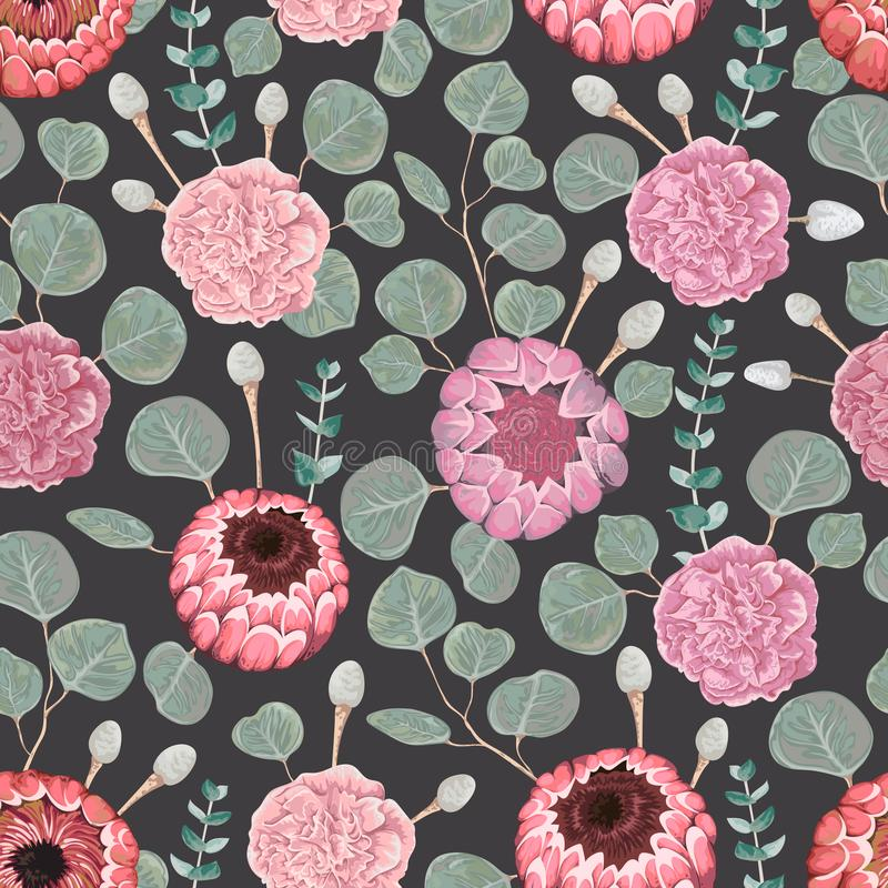 Seamless pattern with carnation, eucalyptus, silver brunia, protea flowers and leaves. Decorative holiday floral background. Vintage vector illustration in royalty free illustration