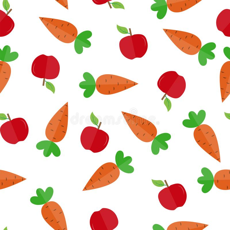 Seamless pattern with carrot and Apple fruit for textile and packaging royalty free illustration