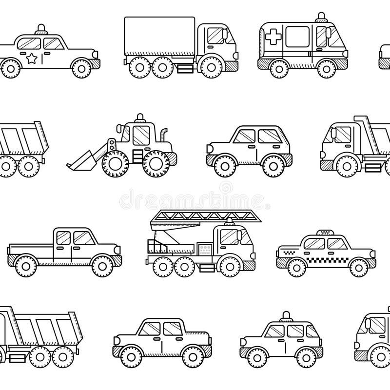 Seamless pattern cars. Black and white background in cartoon sty vector illustration