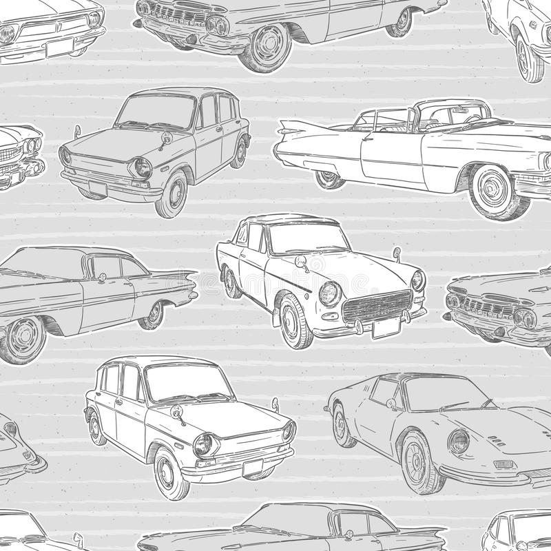 Seamless pattern with cars. Retro car. Vector illustration. - Vector vector illustration