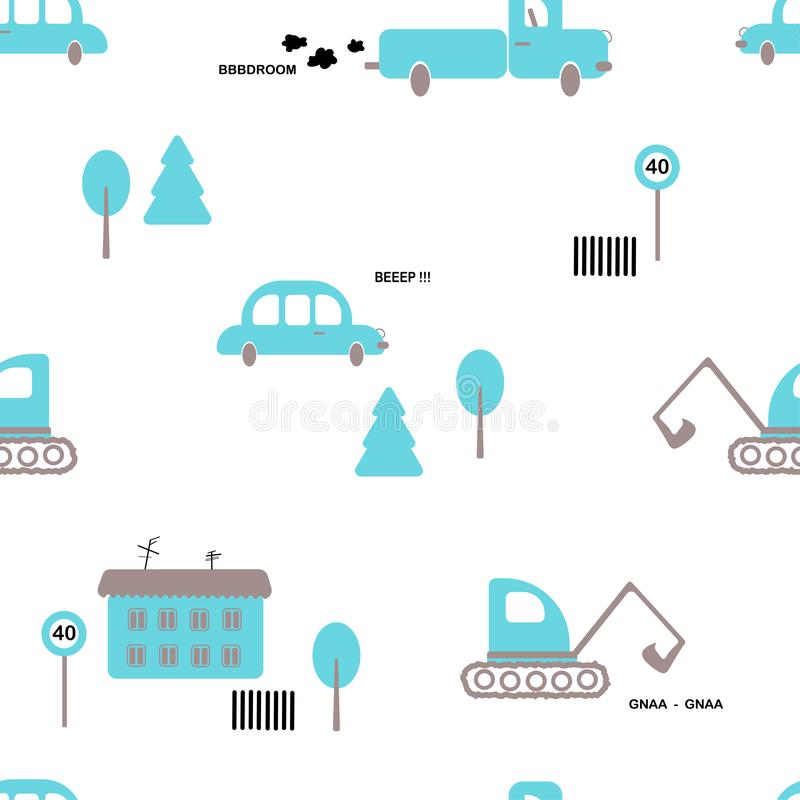 Seamless pattern: cars, truck, excavator, trees, house, sign on a white background. Flat vector. royalty free illustration
