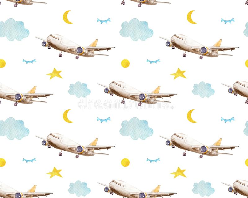 Seamless pattern cartoon airplanes, clouds and stars. A childlike background. Kids seamless pattern with airplanes, stars and vector illustration