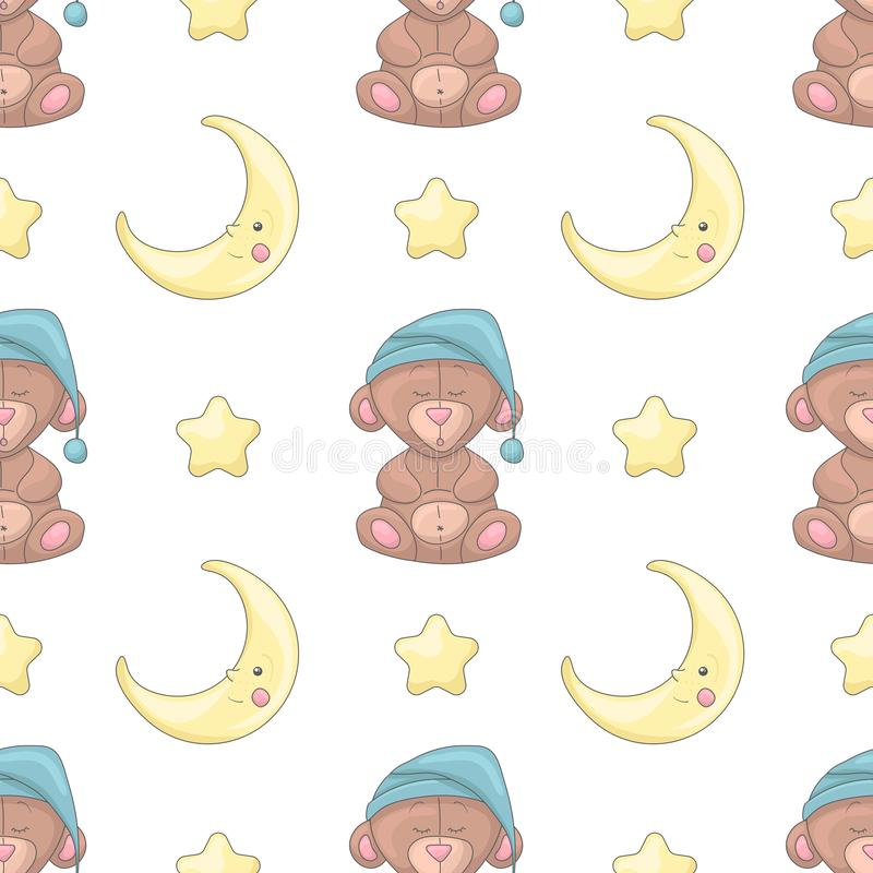 Seamless pattern with cartoon bears, moons and stars vector illustration