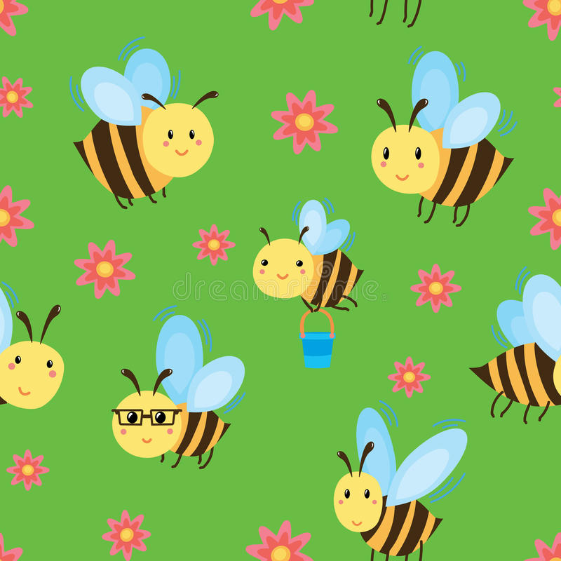 Seamless pattern with cartoon bees and flowers. stock illustration