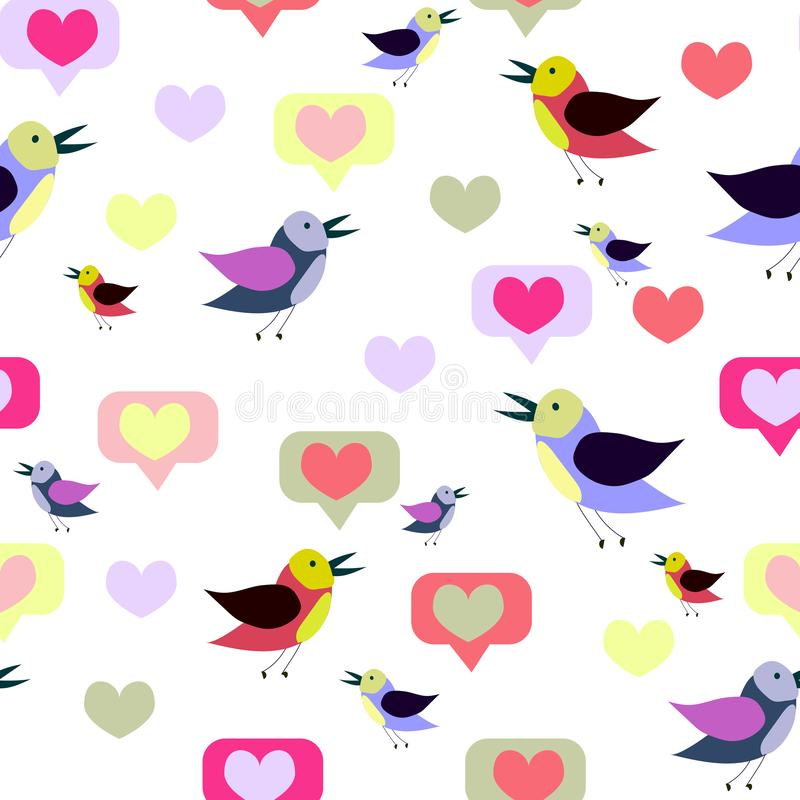 Seamless pattern with cartoon birds and hearts. Spring, summer design. Vector texture, print,paper royalty free illustration