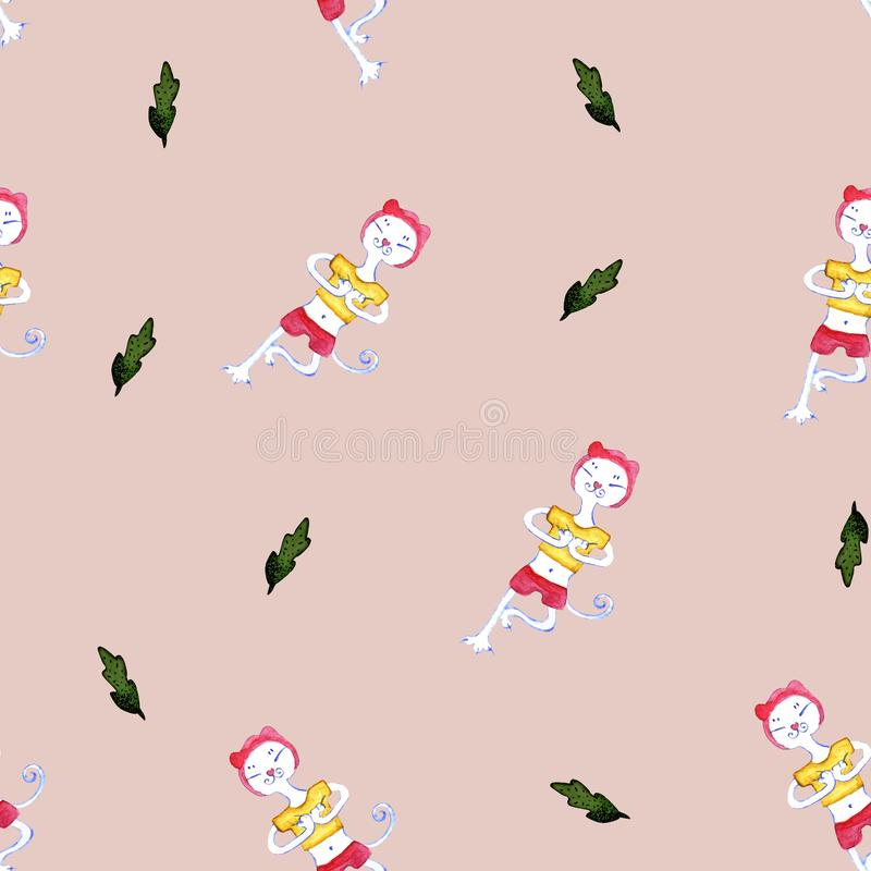 Seamless pattern with cartoon cat doing yoga. Symbol of a healthy lifestyle royalty free illustration