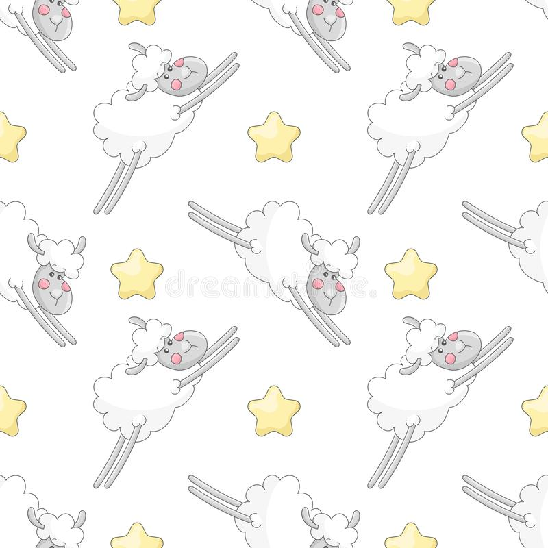 Seamless pattern with cartoon characters stock illustration