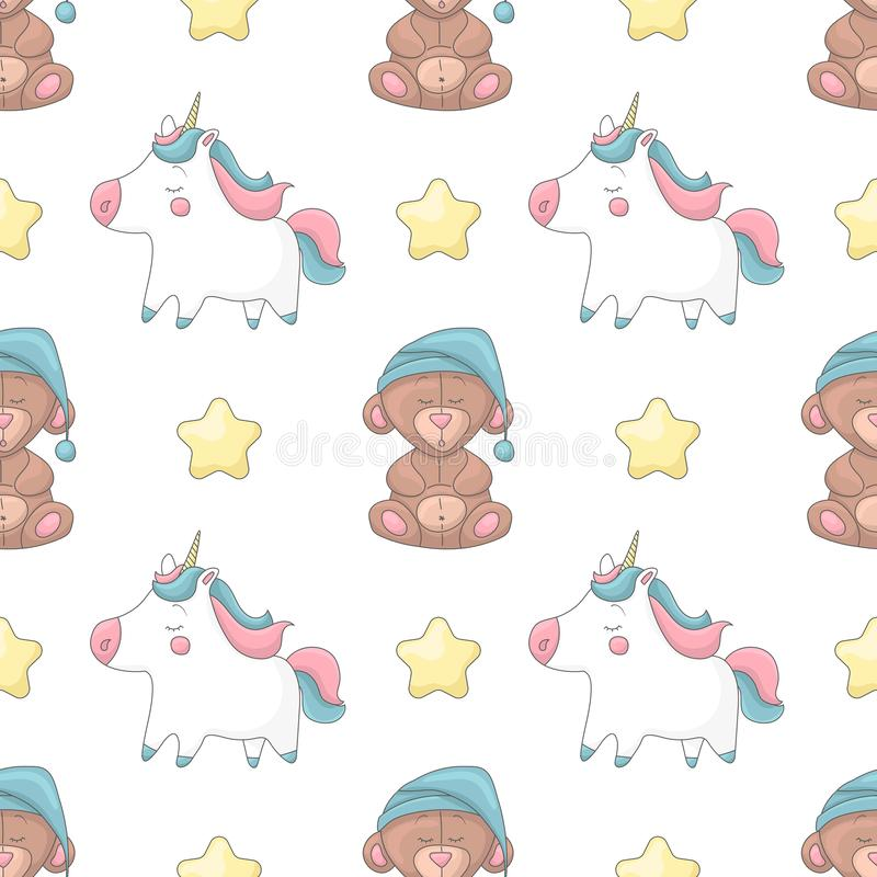 Seamless pattern with cartoon characters royalty free illustration