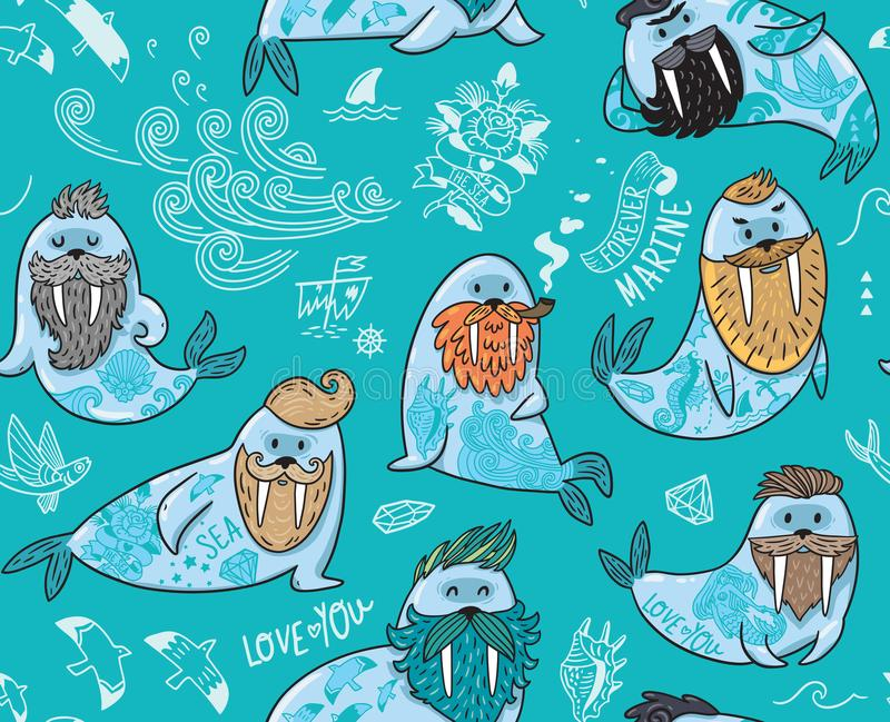 Seamless pattern with hipster walruses with beards and tattoos in cartoon style. Vector illustration in blue colors. Seamless pattern with cartoon characters of stock illustration