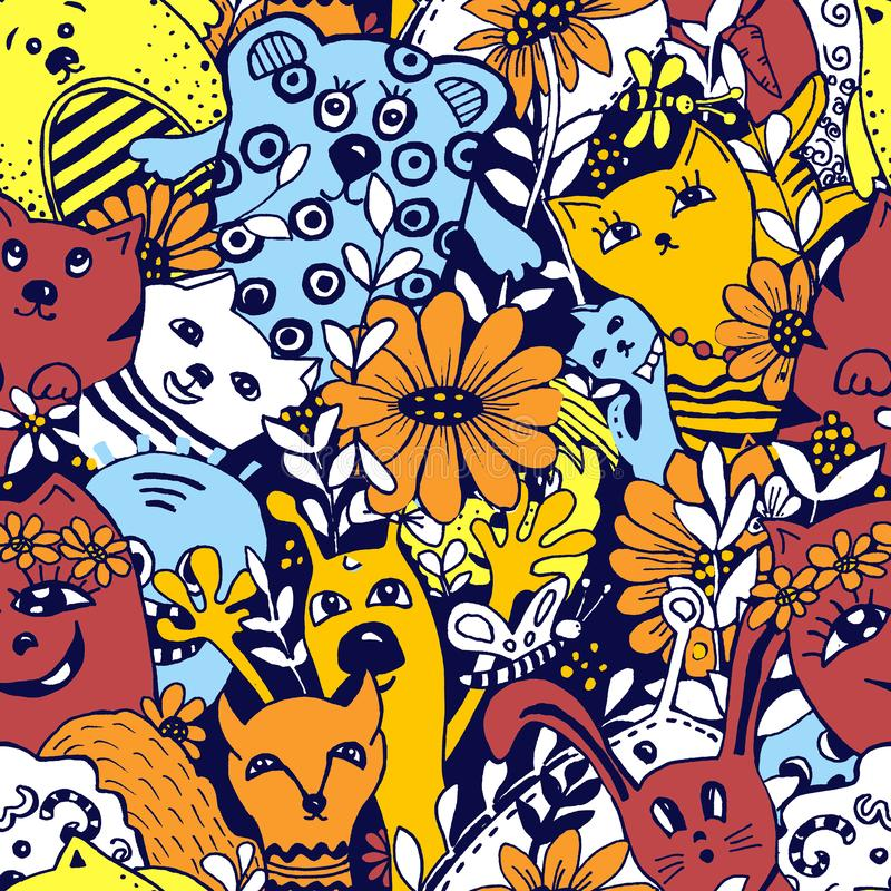 Seamless pattern. Cartoon characters in the style of kawaii with the image of animals, birds and flowers. Design backgrounds, vector illustration