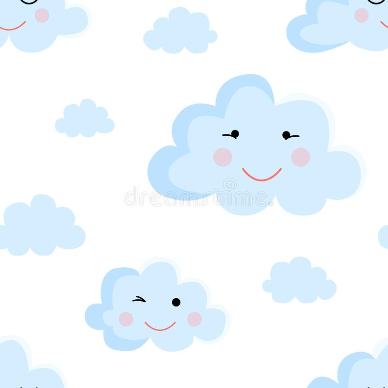 Seamless pattern of cartoon clouds in blue shades. Illustration for a boy at a baby shower party. Background for greeting or invit. Ation cards royalty free illustration