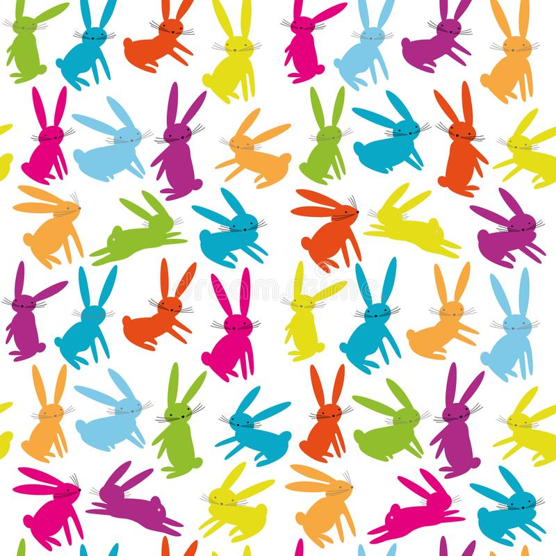 Seamless pattern with cartoon colorful bright hares. Animal pattern. royalty free illustration