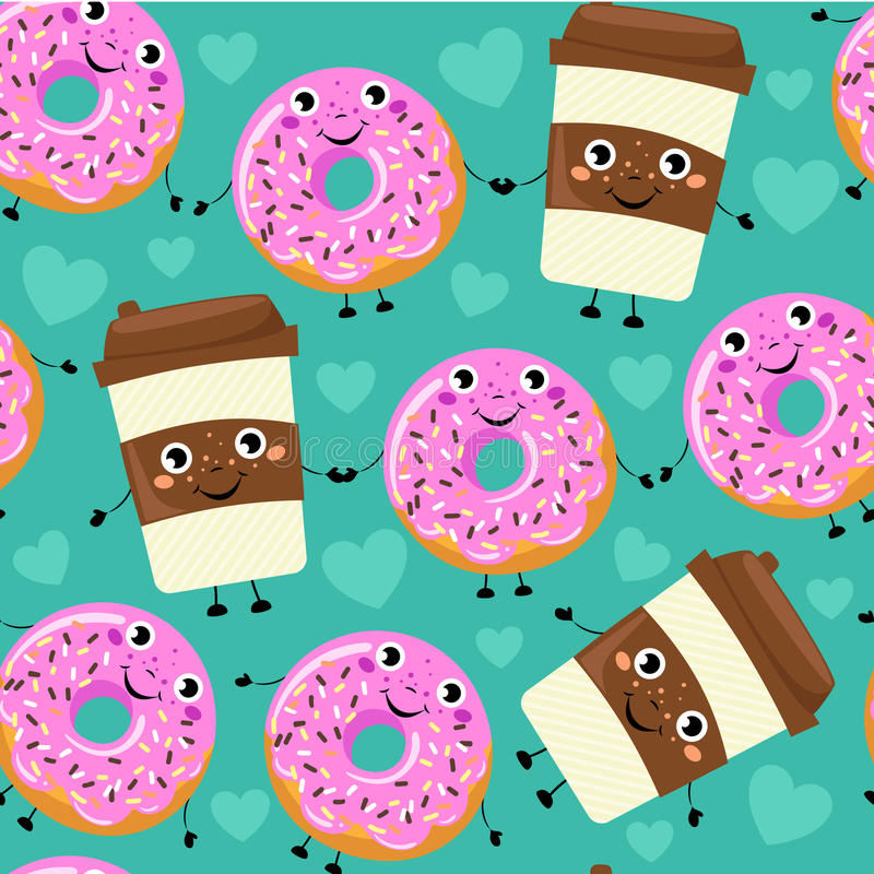 Seamless pattern from cartoon comic coffee cup and donut with smile face. vector illustration