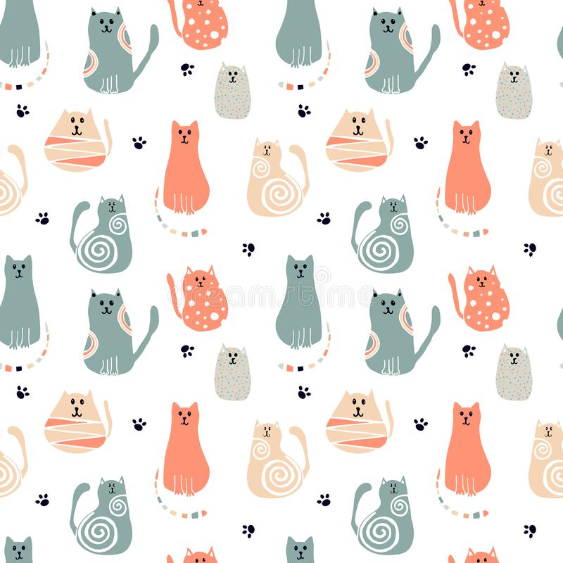 Seamless pattern with cartoon cute cats. Art can be used for print, poster, packing royalty free illustration