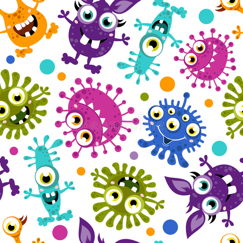 Seamless pattern of Cartoon Cute Monster. vector illustration