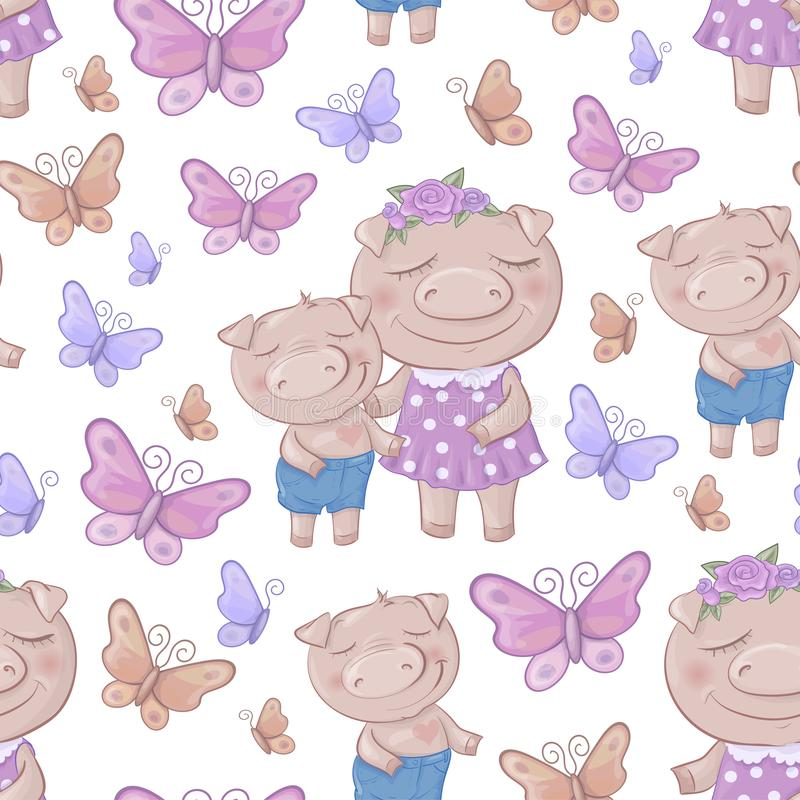 Seamless pattern with cartoon cute pigs. Vector illustration royalty free illustration
