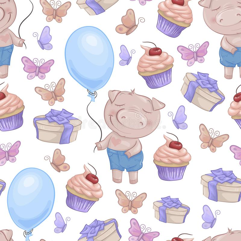Seamless pattern with cartoon cute pigs. Vector illustration vector illustration