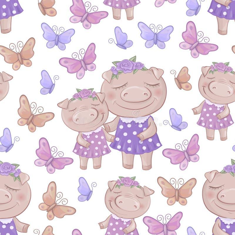 Seamless pattern with cartoon cute pigs. Vector illustration stock illustration