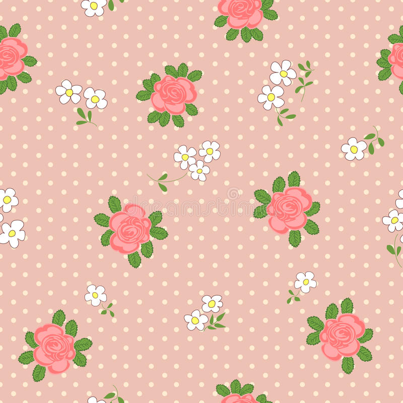 Seamless pattern with cartoon daisies and roses. royalty free illustration