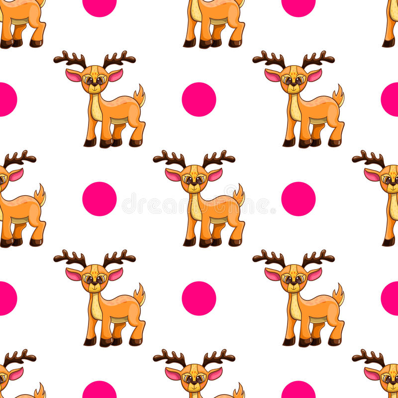 Seamless pattern with cartoon deers stock illustration
