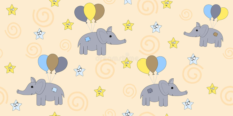 Seamless pattern with cartoon elephants flying on balloons. Vector illustration of a cartoon elephant. vector illustration
