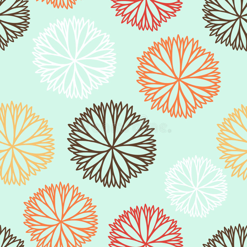 Seamless pattern with cartoon flowers in vector. royalty free illustration