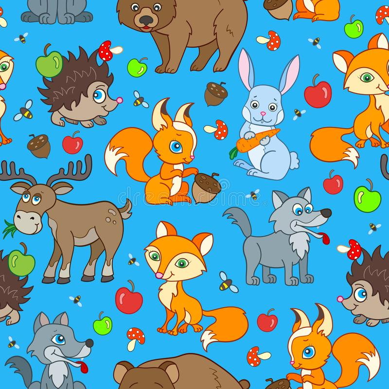 Seamless illustration with  cartoon forest animals, bright beasts on blue background. Seamless pattern with cartoon forest animals, bright beasts on blue royalty free illustration