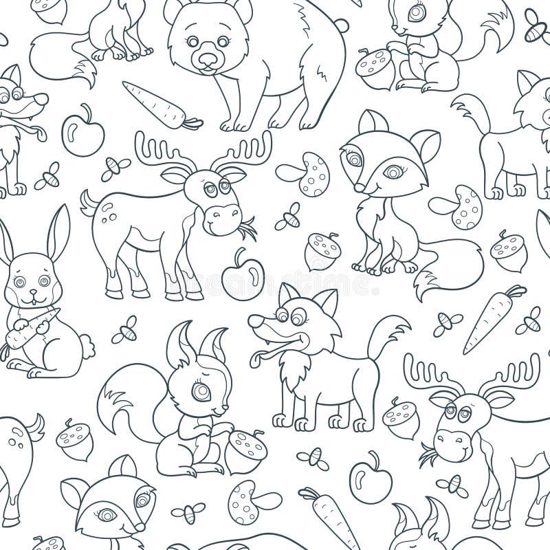 Seamless illustration with cartoon forest animals, contoured dark beasts on white background. Seamless pattern with cartoon forest animals, contoured dark beasts royalty free illustration