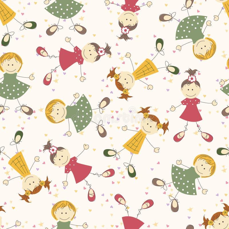 Seamless pattern with cartoon girls royalty free illustration