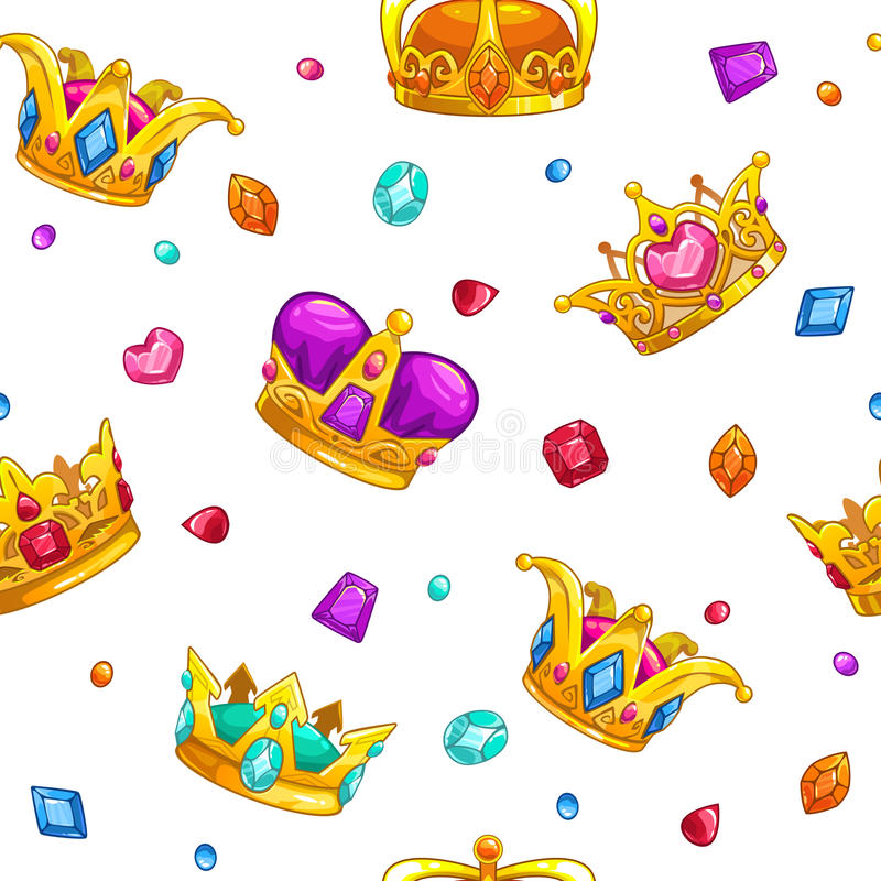Seamless pattern with cartoon golden king crowns. And colorful gemstones on white background. Vector texture tile vector illustration