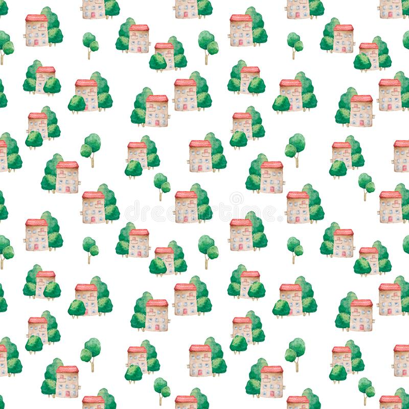 Seamless pattern of cartoon houses and tree. Kid`s elements for scrap-booking. Watercolor illustration. Hand drawn clip art on. Seamless pattern of cartoon stock images