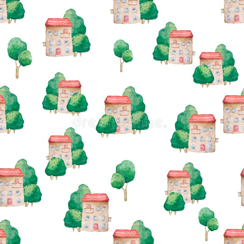 Seamless pattern of cartoon houses and tree. Kid`s elements for scrap-booking. Watercolor illustration. Hand drawn clip art on. Seamless  pattern of cartoon royalty free stock images