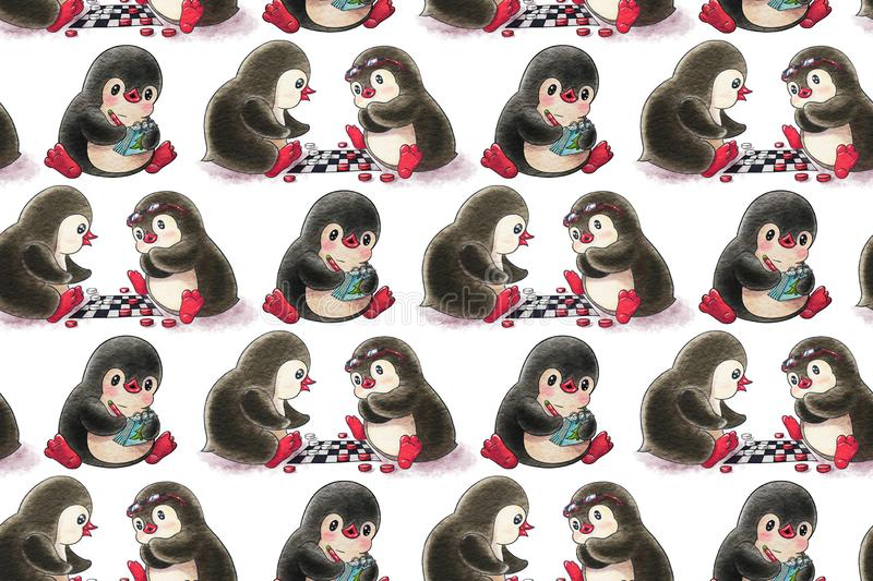 Seamless pattern with cartoon penguins. The game of checkers stock illustration