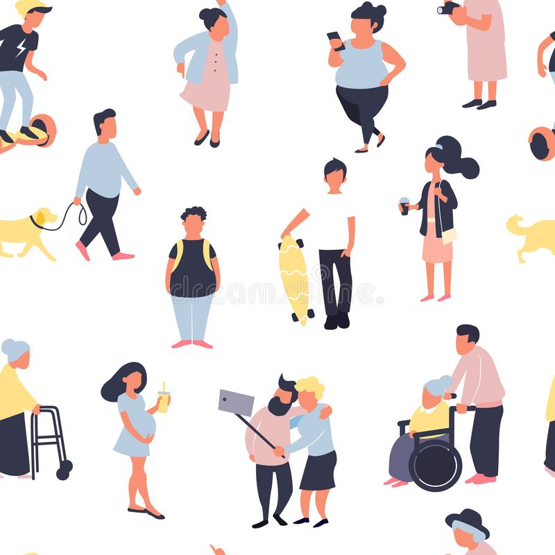 Seamless pattern with cartoon people walking on street. Crowd of male and female tiny characters. Colorful vector stock illustration