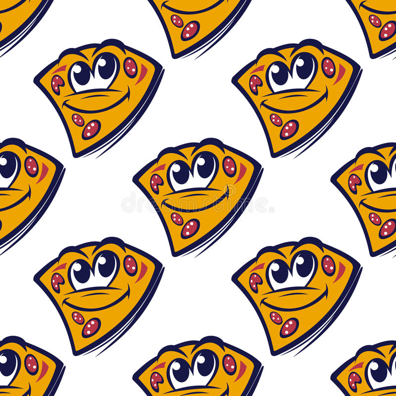 Seamless pattern with cartoon pizza slices vector illustration