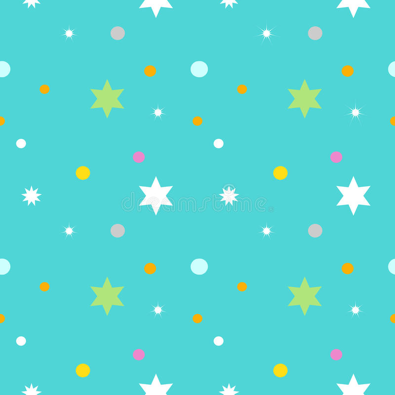 Seamless pattern with cartoon star in blue background royalty free illustration