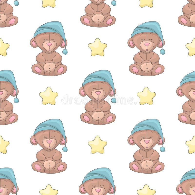 Seamless pattern with cartoon stars and bears stock illustration