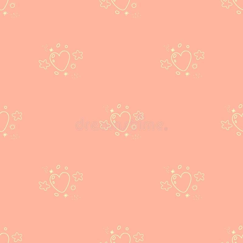 Seamless pattern of cartoon yellow hearts, stars and particles o. Vector seamless pattern of cartoon yellow hearts, stars and particles on pink background stock illustration