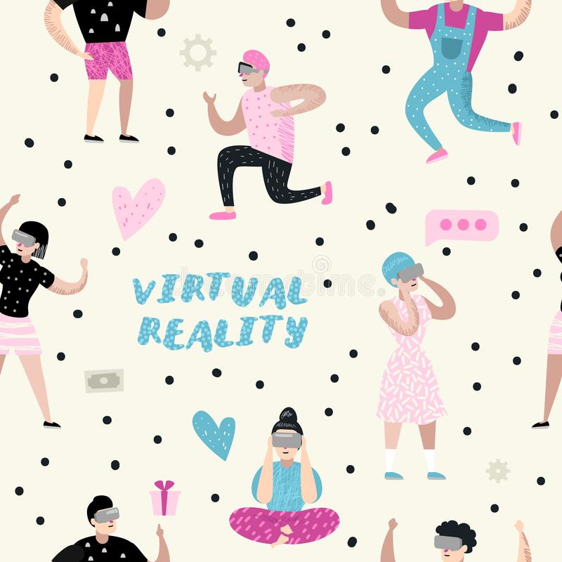 Seamless Pattern with Cartoons Wearing Virtual Reality Glasses. VR Headset. Girls and Boys Characters Playing Video Game stock illustration