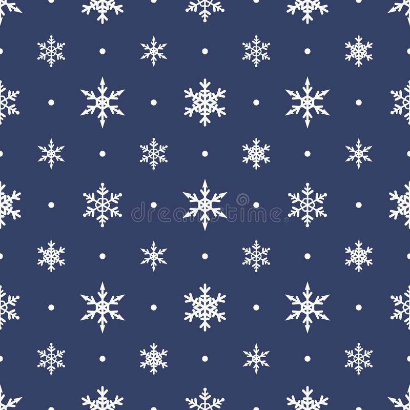 Seamless pattern with carved snowflakes. Flat vector winter background.  royalty free illustration