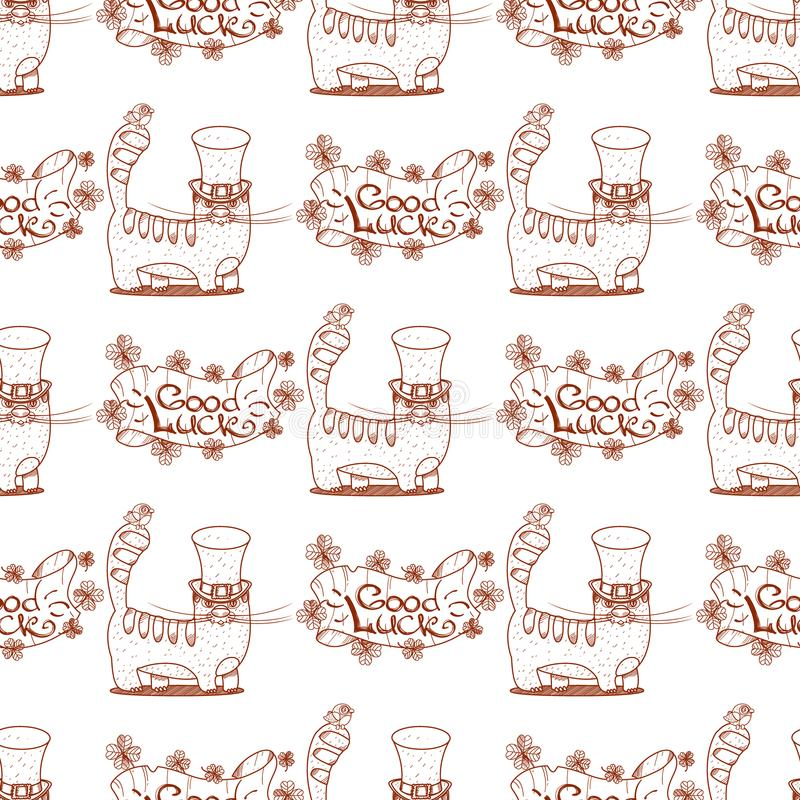 Seamless pattern with cat and banner of good luck.  stock illustration