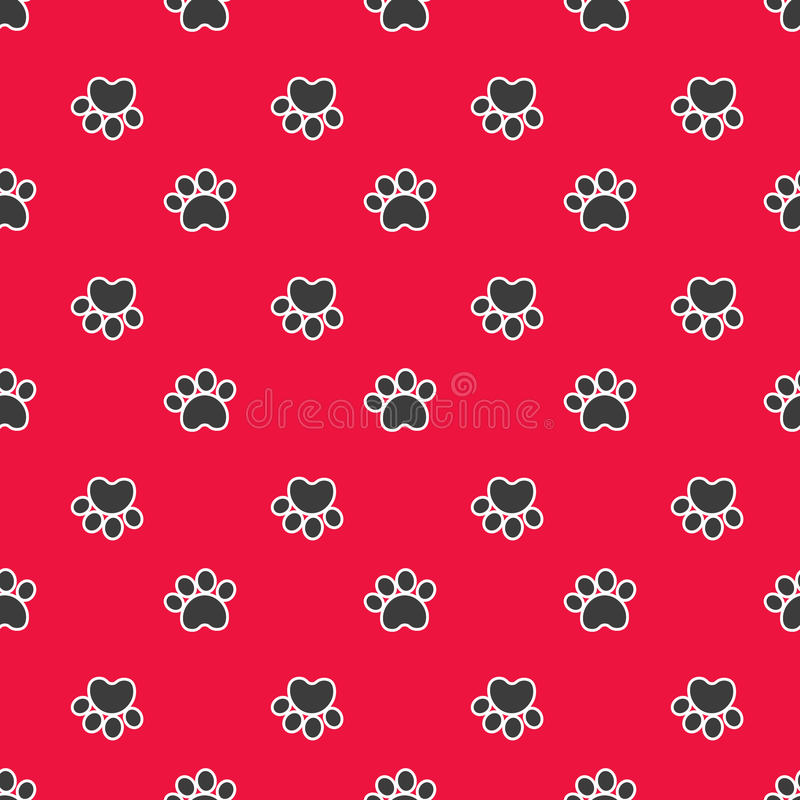 Seamless pattern with cat or dog footprints stock images